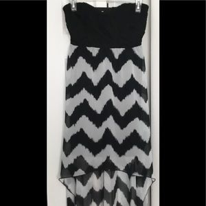 Chevron Print hi-lo halter dress